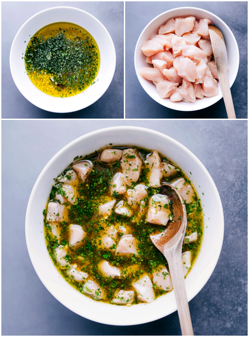 Image of the marinade being made; the chopped chicken being added to the marinade; and marinating chicken in a large bowl.