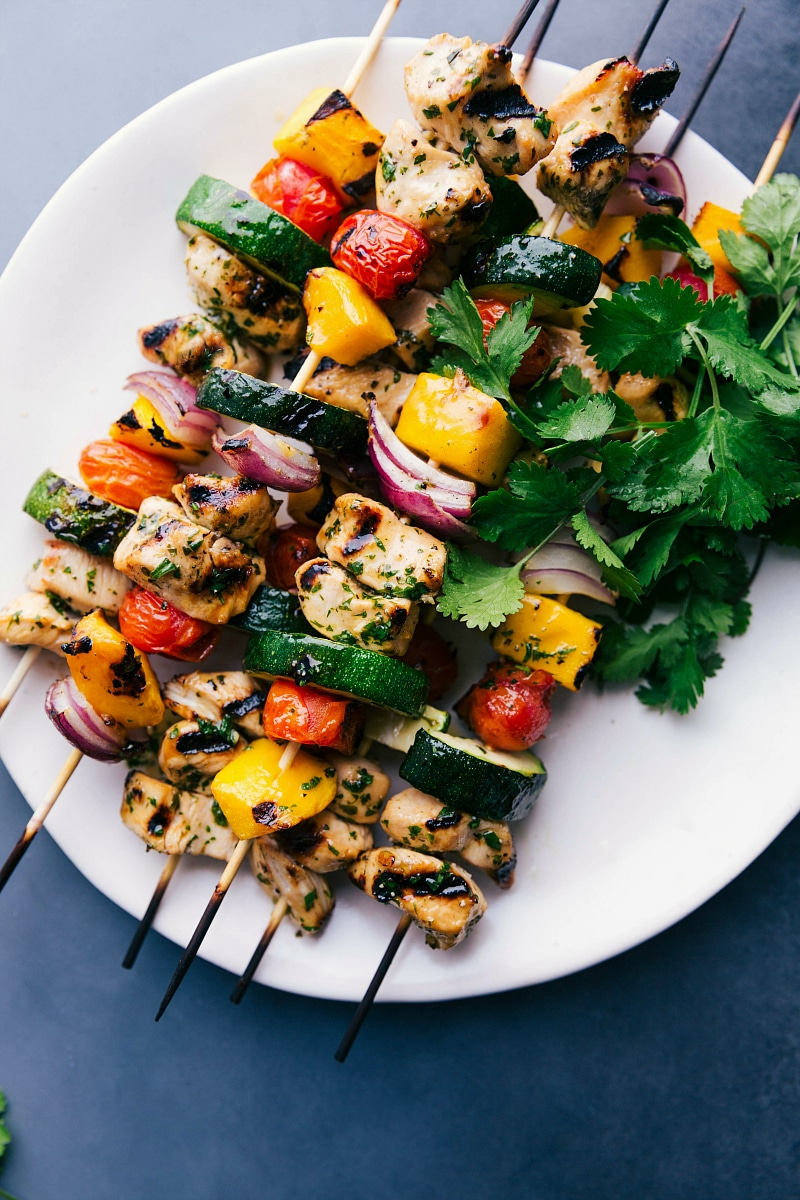 Overhead image of Chicken Kabobs on a plate, grilled, and ready to eat.