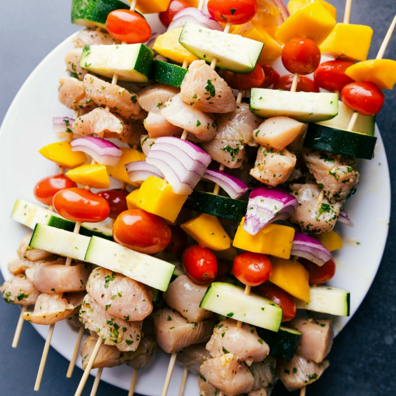 Overhead image of the uncooked Chicken Kabobs, ready to be grilled.