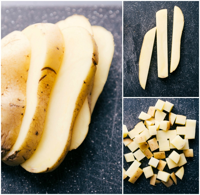 Process shots-- images of the raw potatoes being cut and cubed.
