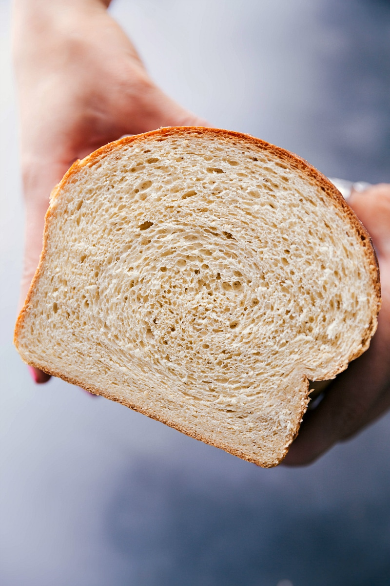 Image of Honey Whole Wheat bread showing the inside of the bread.