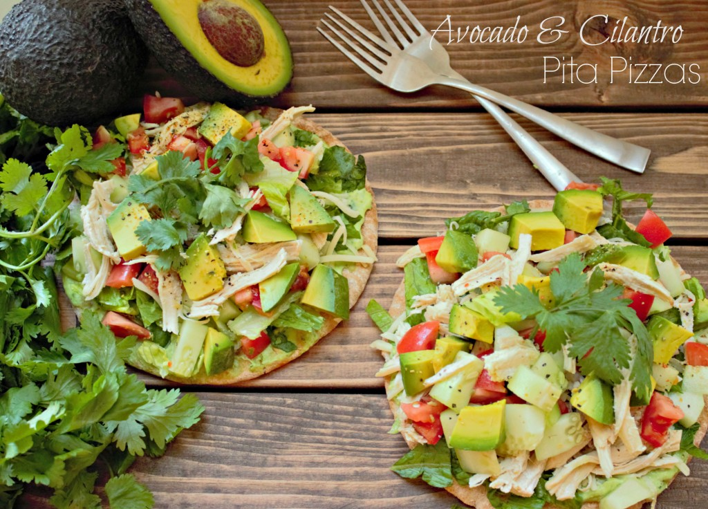 An easy pita pizza made with a cilantro-avocado sauce topped with ...