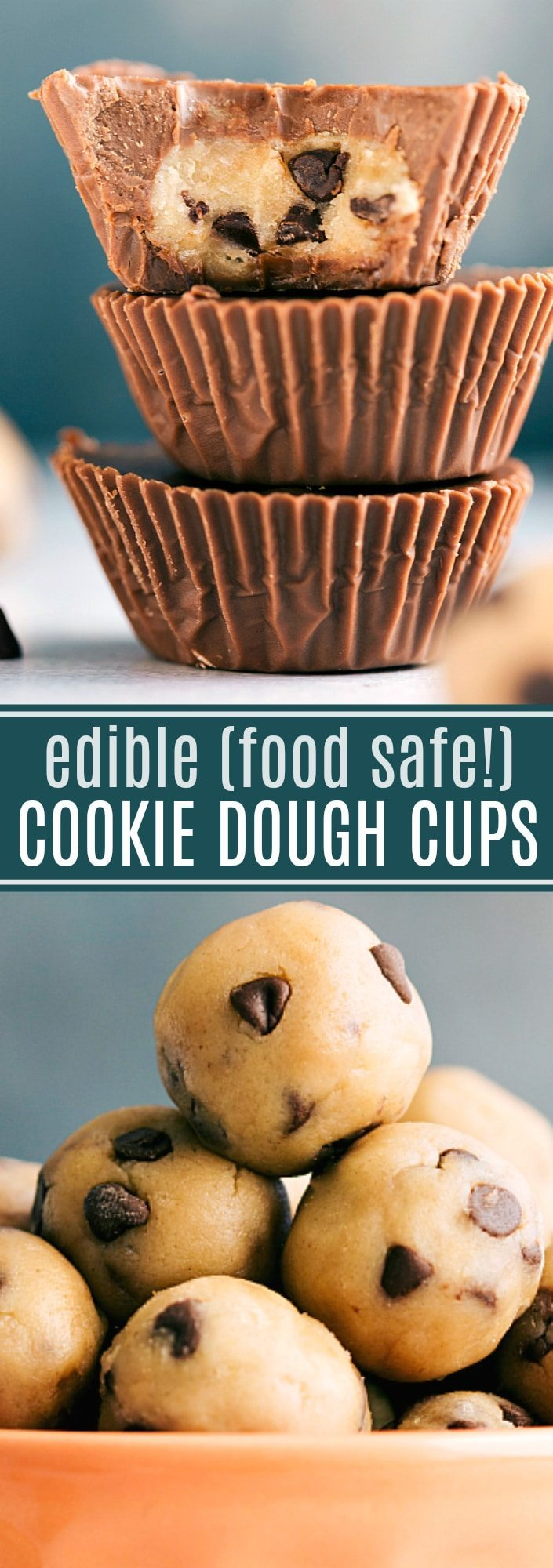 The ultimate BEST EVER edible cookie dough cups!! Completely food safe to eat (cooked flour and no raw eggs!) via chelseasmessyapron.com