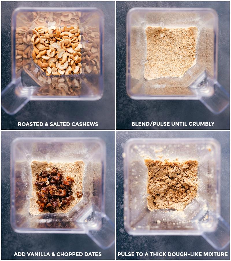 Process shots-- blending the cashews and dates