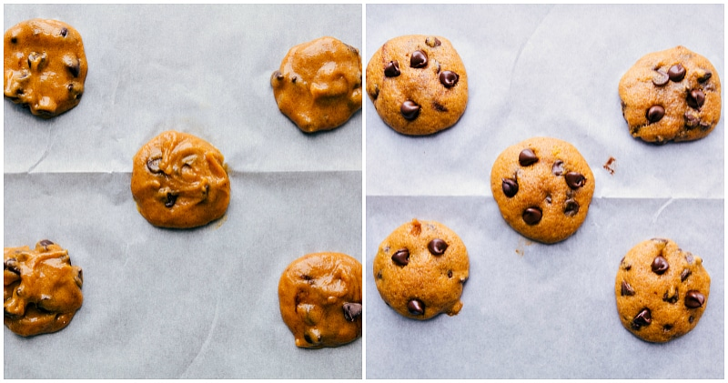 Process shot-- image of the dough balls being placed on a baking sheet and the baked cookies fresh out of the oven.