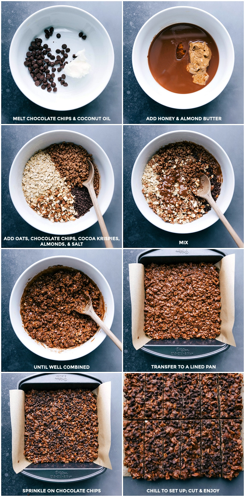 Process shots for Chocolate Granola Bars: melt chocolate chips and coconut oil; add honey and almond butter; add oats, chocolate, cereal almonds and salt; mix until well combined; transfer to a lined pan; sprinkle on chocolate chips; chill to firm up.