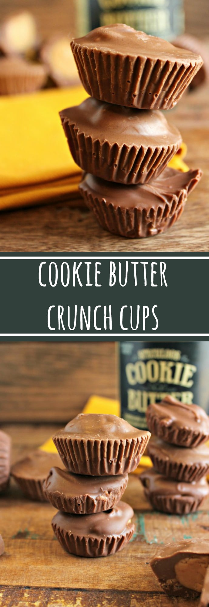 Delicious and easy to make COOKIE BUTTER crunch cups. Like a Reese's cup but with cookie butter! Make in a miniature muffin tin so no special tools required!