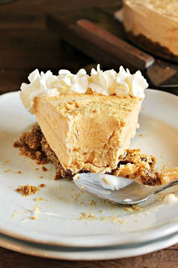 Frozen Pumpkin Pie Cheesecake - a delicious make ahead Thanksgiving dessert!