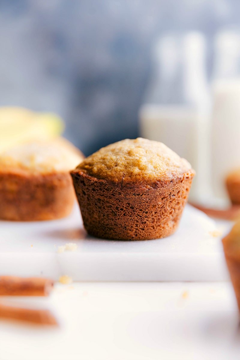 Up-close image of Healthy Banana Muffins fresh out of the oven, ready to be eaten.