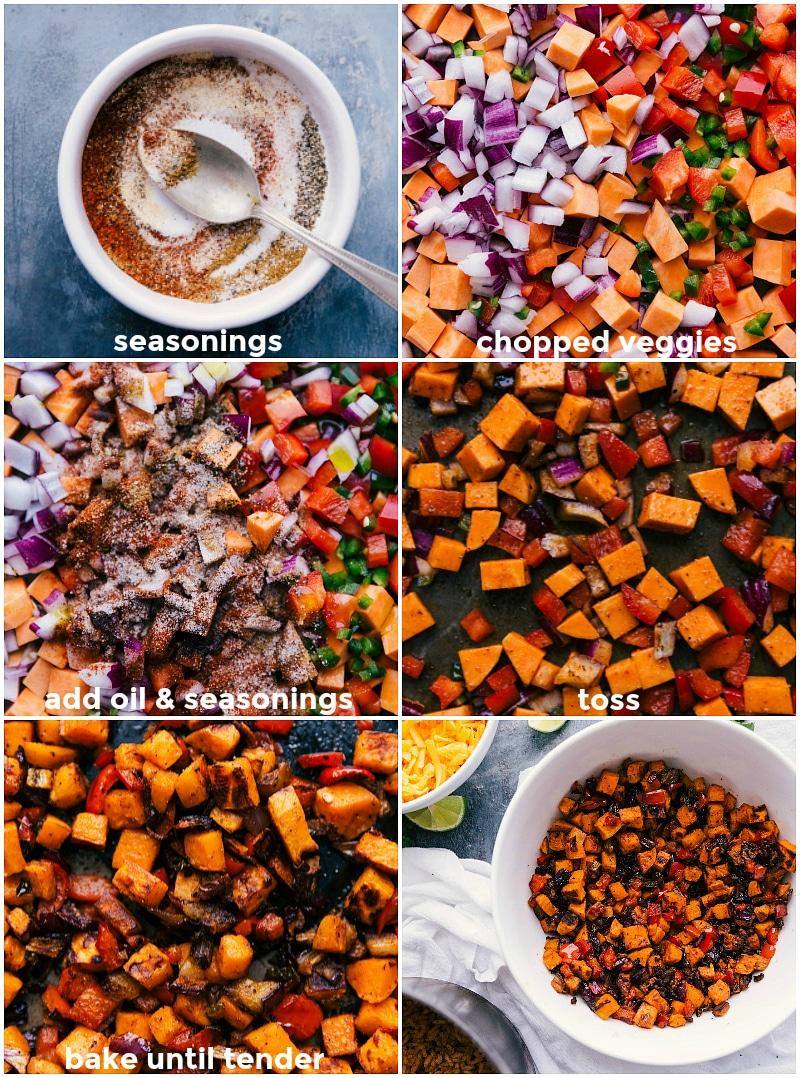 Process shots: combine seasonings; chop veggies; add oil and seasonings to the vegetables; toss to combine; bake until tender; serve.