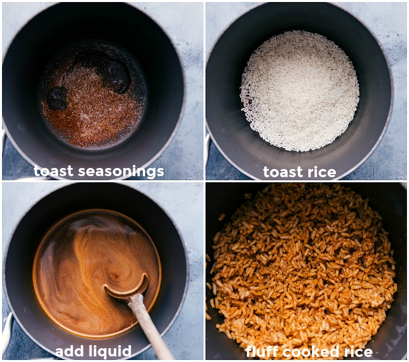 Process shots: toasting the seasonings; toasting the rice; adding liquids; fluffing the cooked rice.
