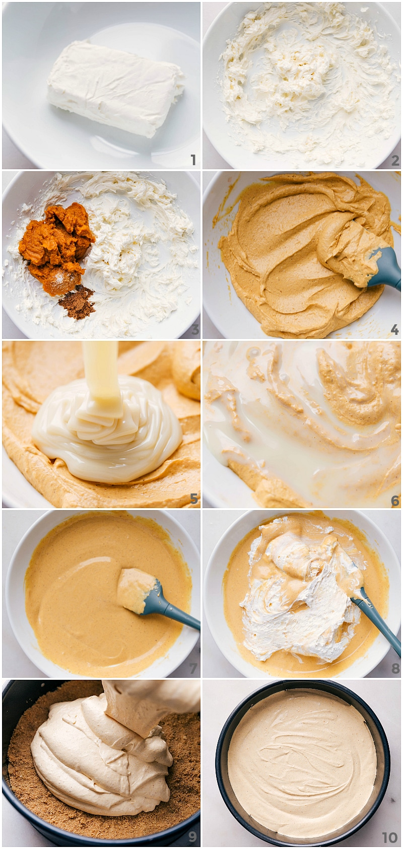 Process shots-- images of the filling of easy No-Bake Pumpkin Cheesecake being made.
