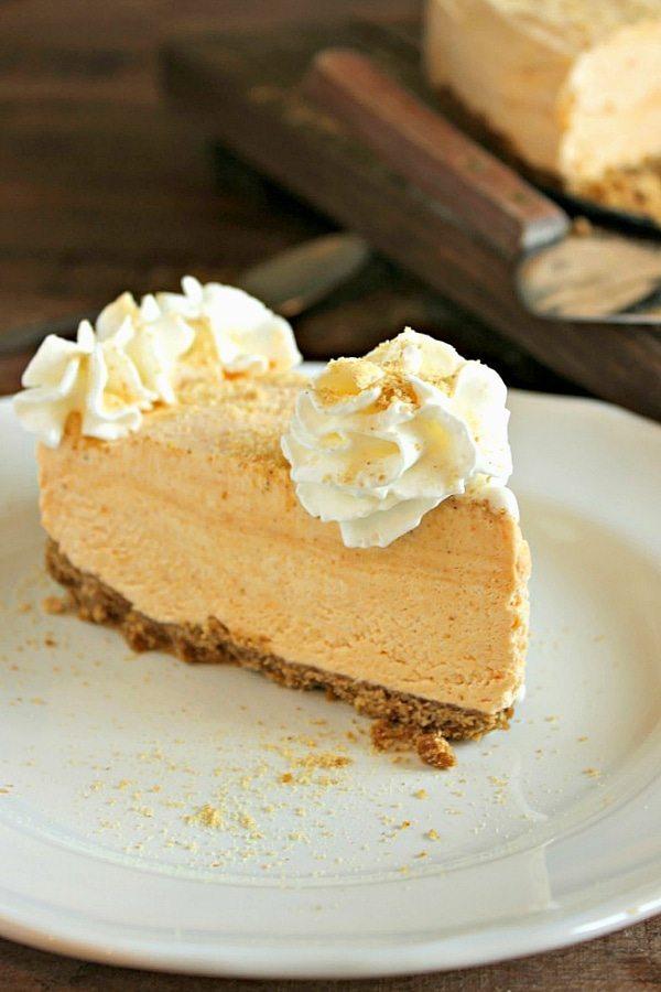 Frozen Pumpkin Pie Cheesecake - a delicious make ahead Thanksgiving dessert!