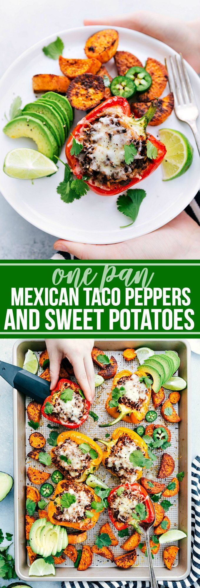 ONE PAN Mexican Taco Stuffed Sweet Peppers and sweet potatoes! Easy, delicious, and family friendly! via chelseasmessyapron.com #peppers #onepan #mexican #taco #stuffed #peppers #veggies #healthy #easy #quick