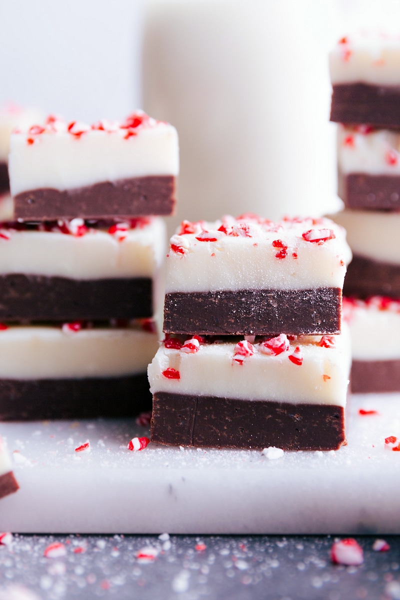 Up-close image of Peppermint Fudge, ready to be eaten.