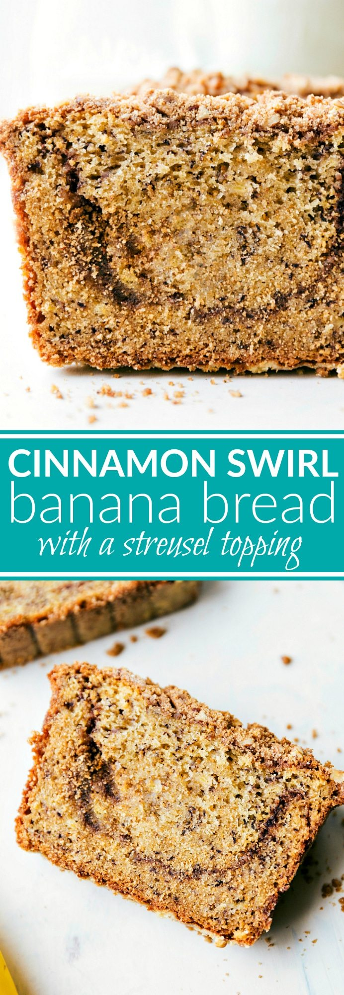The best GREEK YOGURT Banana Bread!! A delicious and easy to make cinnamon-swirled banana bread with a sugared streusel topping. Recipe via chelseasmessyapron.com