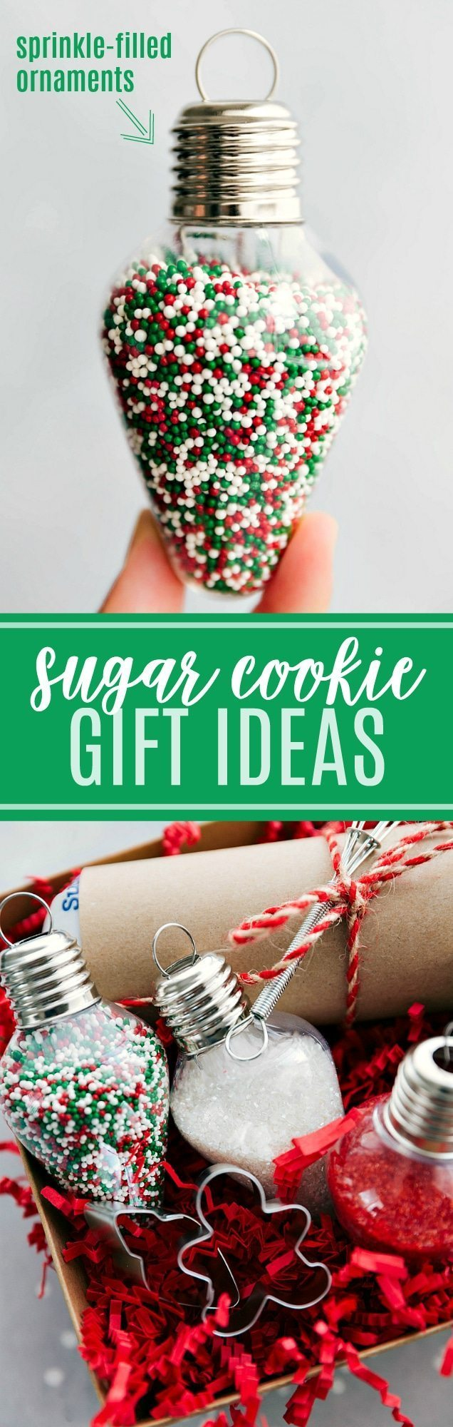 Tons of fun ideas for SUGAR COOKIE KITS. Great and simple gifts! Fill up small ornaments with sprinkles and gift them with some sugar cookie dough! via chelseasmessyapron.com