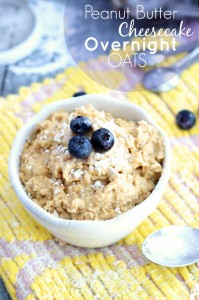 An easy healthy breakfast of cheesecake overnight oats from Chelsea's Messy Apron