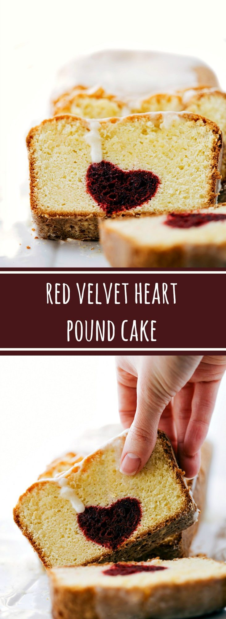 Beautiful treat for your Valentine! Red-velvet heart centered pound cake