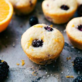 Greek Yogurt Blackberry Orange Muffins