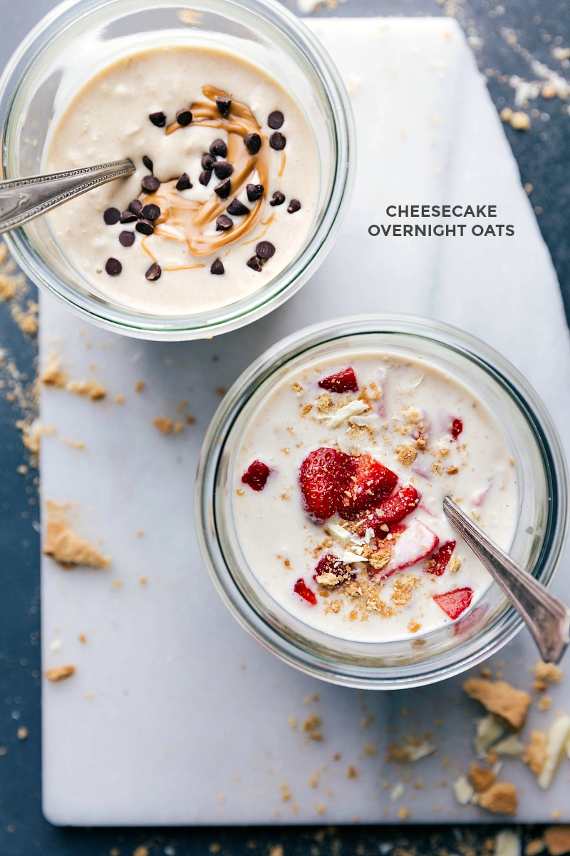 Overhead image of Cheesecake Overnight Oats: peanut butter and strawberry.