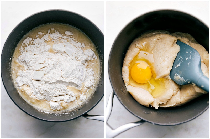 Process shots: more images of the dough being made; flour and eggs being added; and it all being mixed together in a sauce pan.