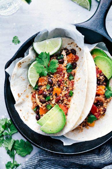 Crockpot Quinoa, Sweet Potato, & Chicken Fajitas