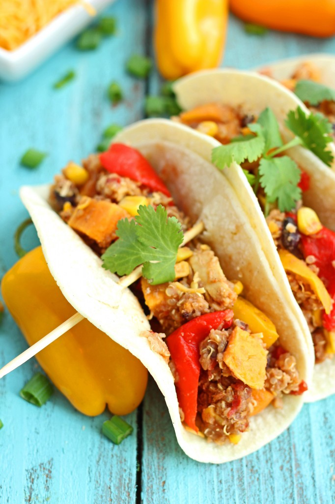 Crockpot Quinoa, Chicken, Sweet Potato, Sweet Pepper, Corn, & Black Bean Fajitas