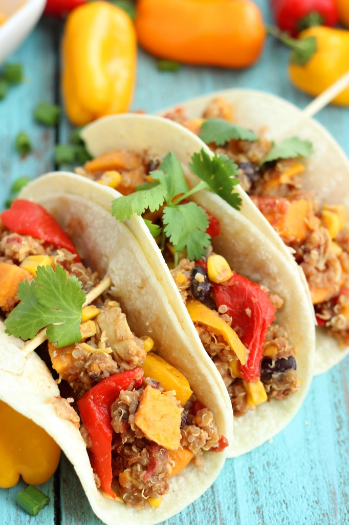 Crockpot Quinoa Fajitas with Sweet Potatoes, Sweet Peppers, and More!