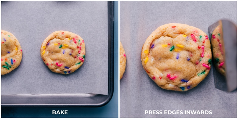 Pressing the cookie edges inward immediately after coming out of the oven