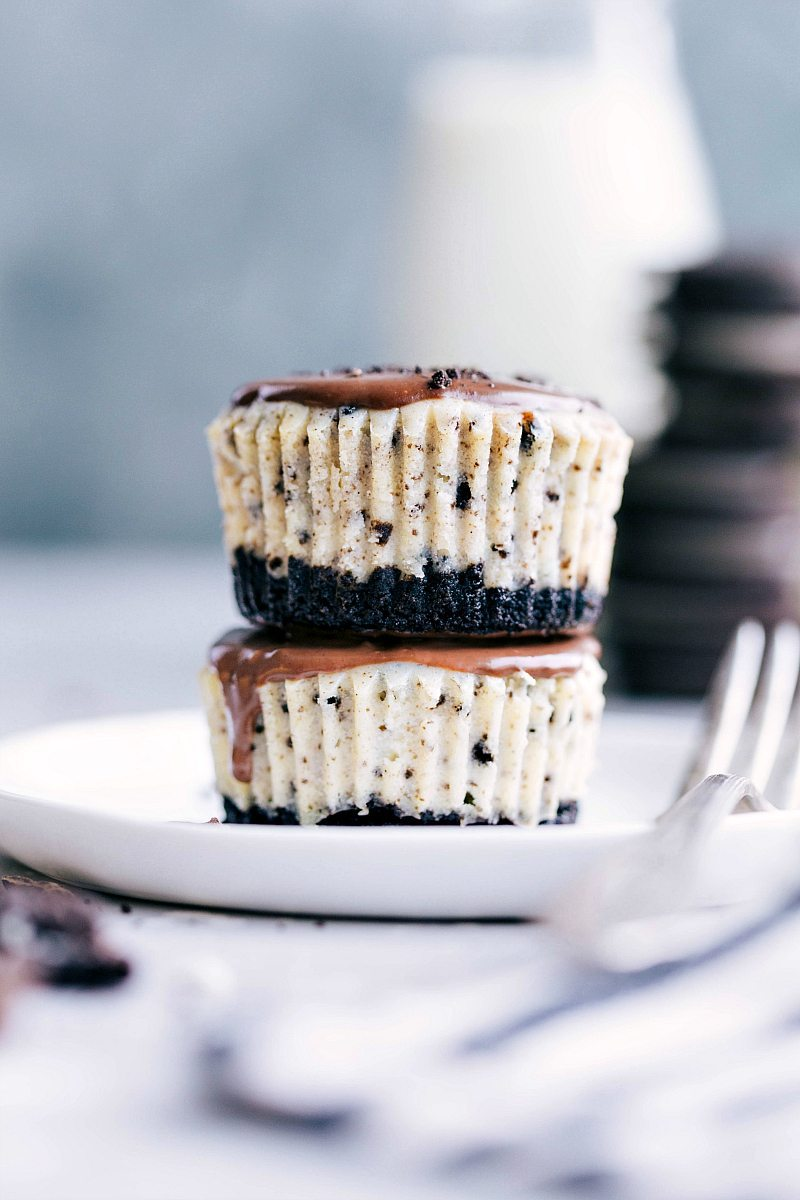 Two mini oreo cheesecakes stacked up