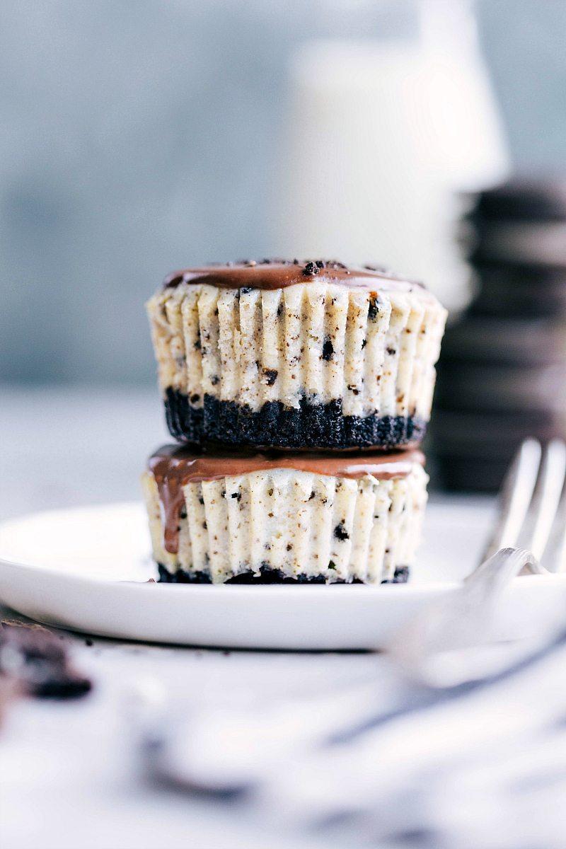 Two mini oreo cheesecakes stacked up
