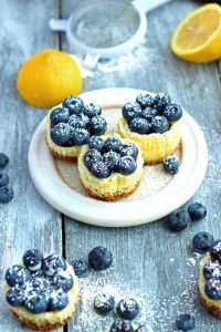 Miniature Blueberry and Lemon Cheesecakes