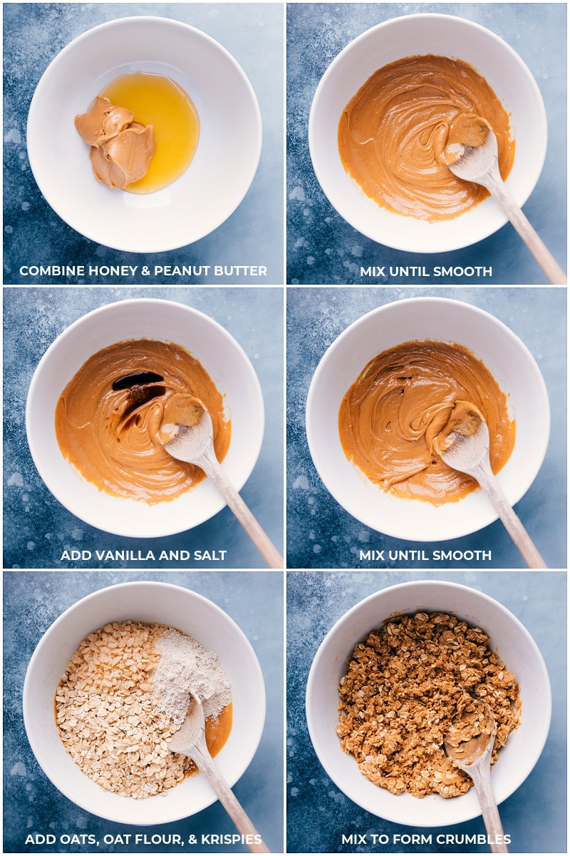 Process shots-- combining the ingredients for No-Bake Granola.