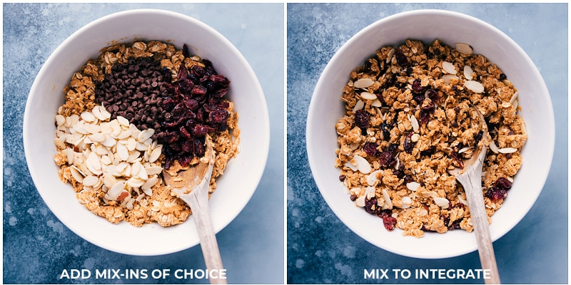 Adding in optional mix-ins to No-Bake Granola