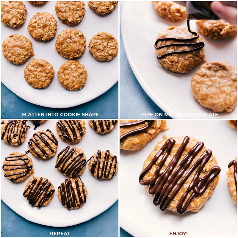 Process shots: Adding a chocolate drizzle to breakfast cookies