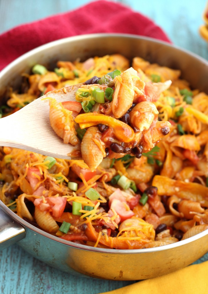 One Skillet Chicken Enchilada Pasta