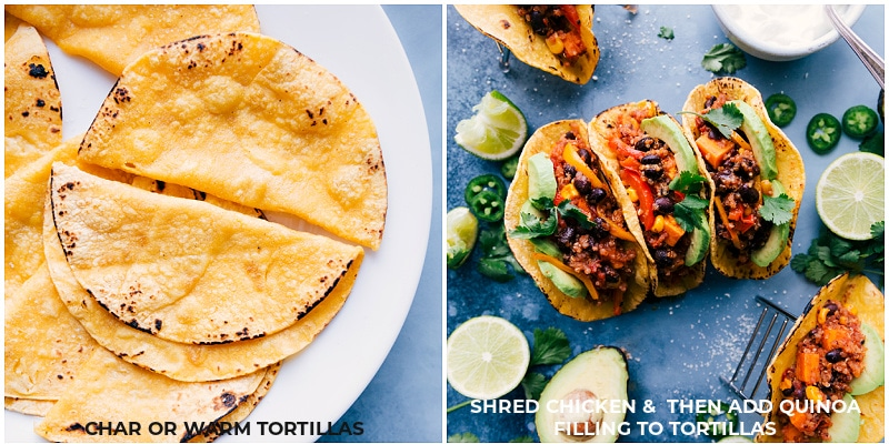 Process shots-- images of the tortillas being charred and then stuffed with the Quinoa Fajita filling.