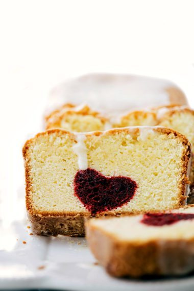 Cream Cheese Pound Cake with a Red Velvet Heart Center