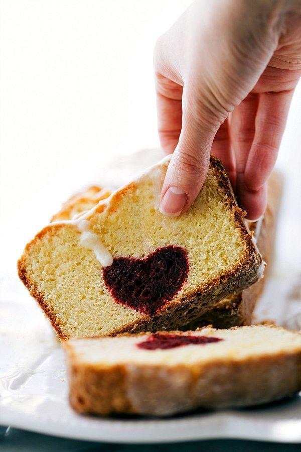 Red Velvet Heart Centered Pound Cake