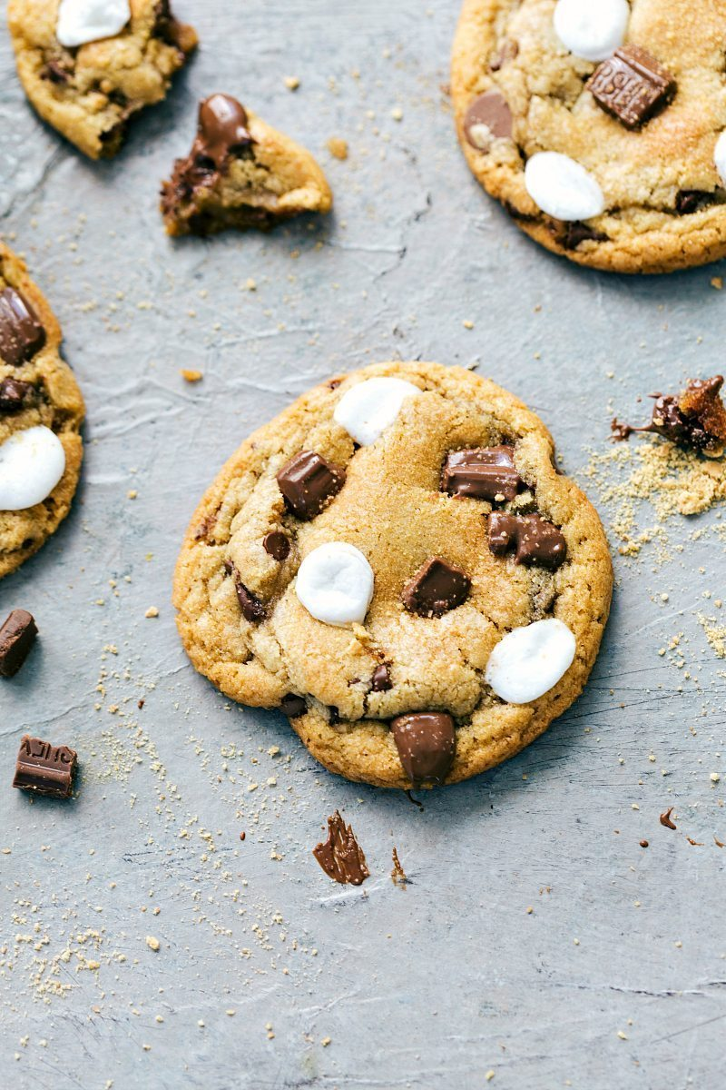 The BEST EVER S'mores Cookies via chelseasmessyapron.com