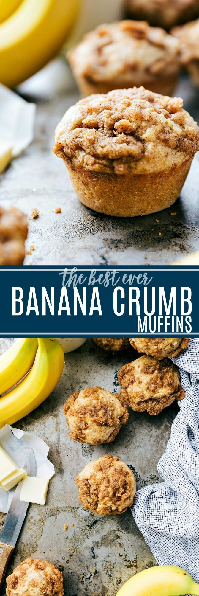 The ultimate BEST EVER banana crumb muffins! Easy and delicious! via chelseasmessyapron.com