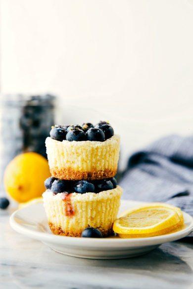 Miniature Lemon Blueberry Cheesecakes