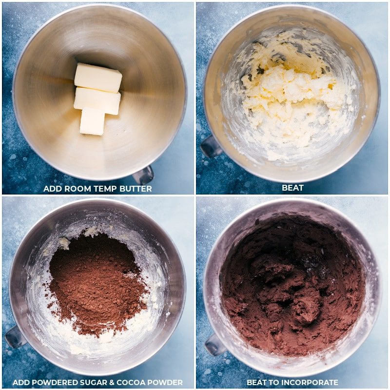Process shots-- images of the frosting ingredients being whipped together