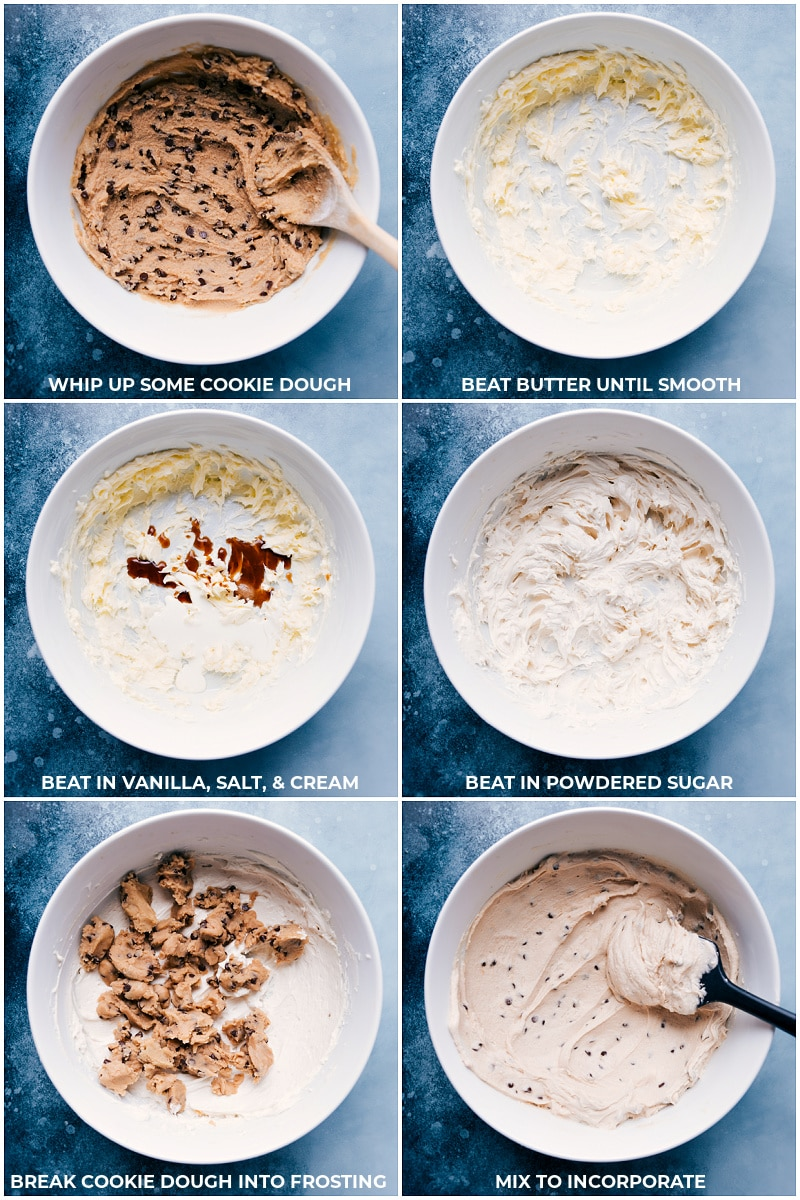 Process shots: making the edible cookie dough frosting
