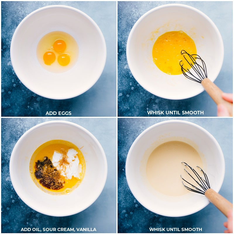 Process shots-- images of the wet ingredients being whisked together