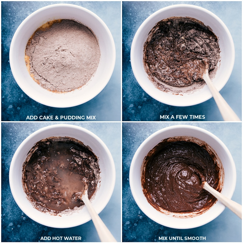 Process shots-- images of the dry ingredients being added on top of the wet
