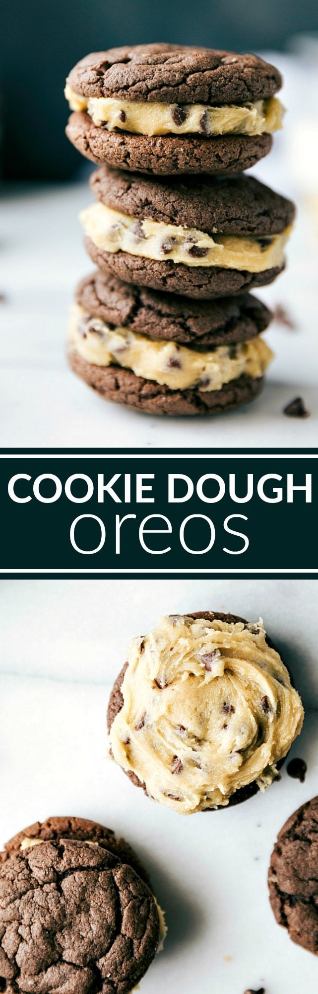 COOKIE DOUGH OREOS: Cookie dough frosting in between two soft chocolate cookies. The chocolate cookies have only 4 ingredients and take less than 5 minutes to make! Recipe from chelseasmessyapron.com