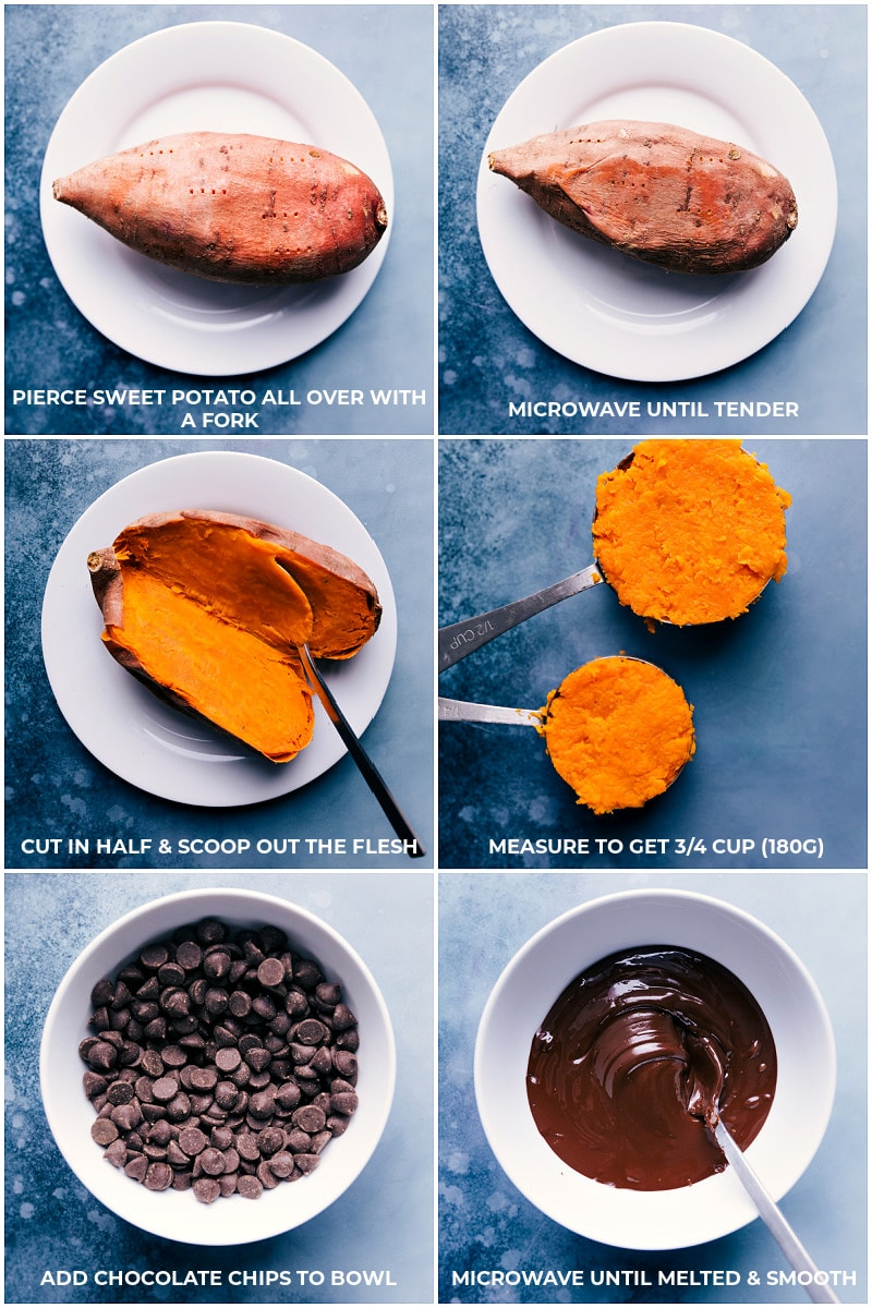 Process shots of the sweet potatoes being prepped and the chocolate chips being melted