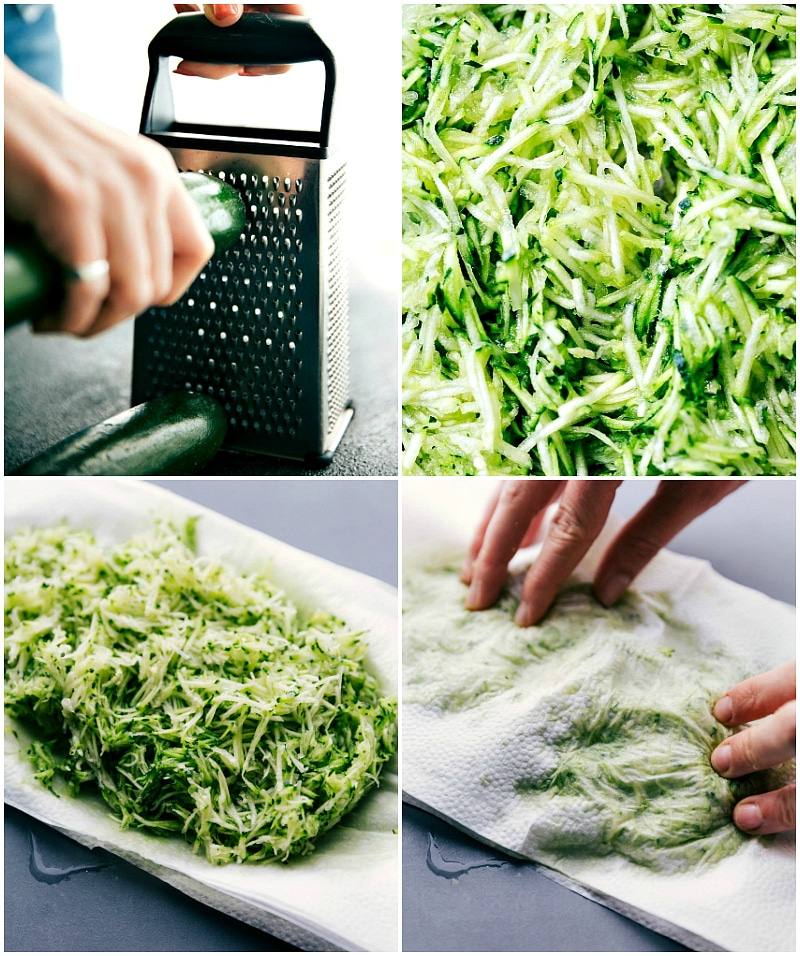 Process shots: grate the zucchini and then spread out on paper towels; blot to absorb excess moisture.